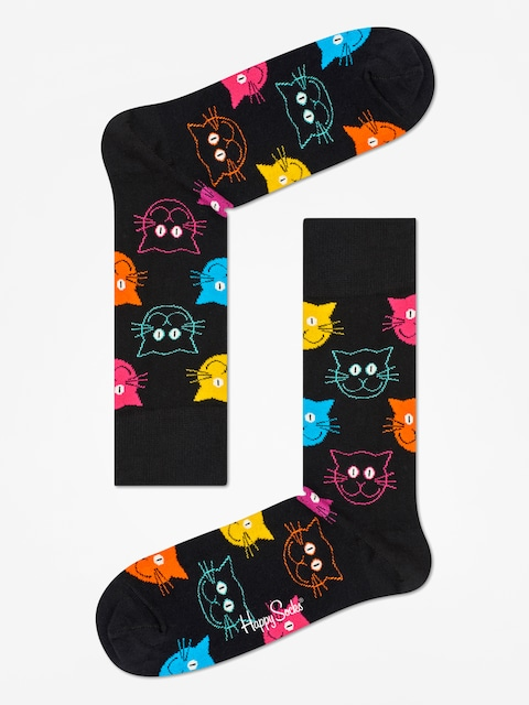 Ponožky Happy Socks Animal Cat (black/pink)