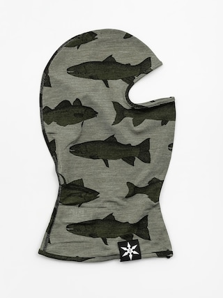 Šatka Airblaster Merino Ninja Face (olive fish print)