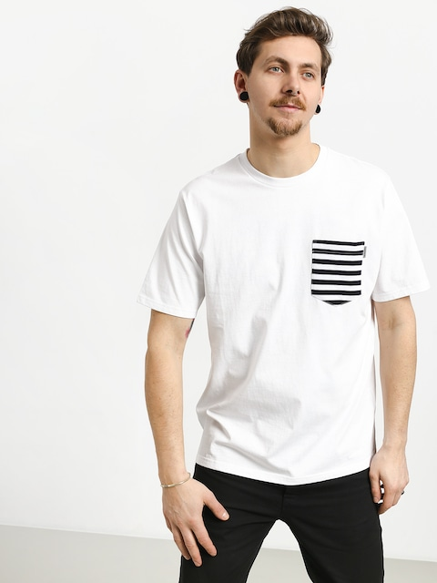 Tričko Carhartt WIP Contrast Pocket (white/barkley stripe dark navy/white)