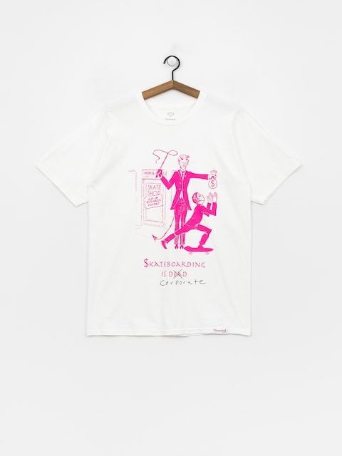 Tričko Diamond Supply Co. Skate Crime (white/pink)