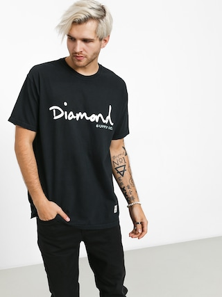 Tričko Diamond Supply Co. Og Script Overdye (black)