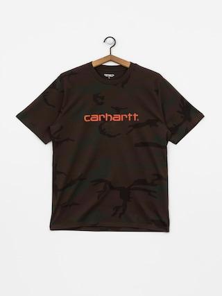 Tričko Carhartt WIP Script (camo evergreen/brick orange)