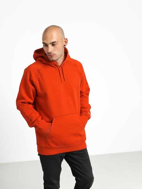 Mikina s kapucňou Carhartt WIP Chase HD (brick orange/gold)