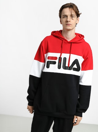 Mikina s kapucu0148ou Fila Night Blocked HD (true red/black/bright white)