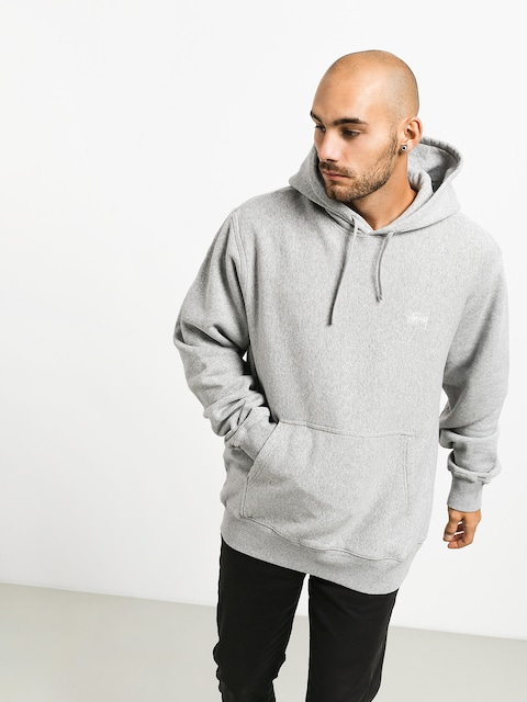 Mikina s kapucňou Stussy Stock Logo HD (grey heather)