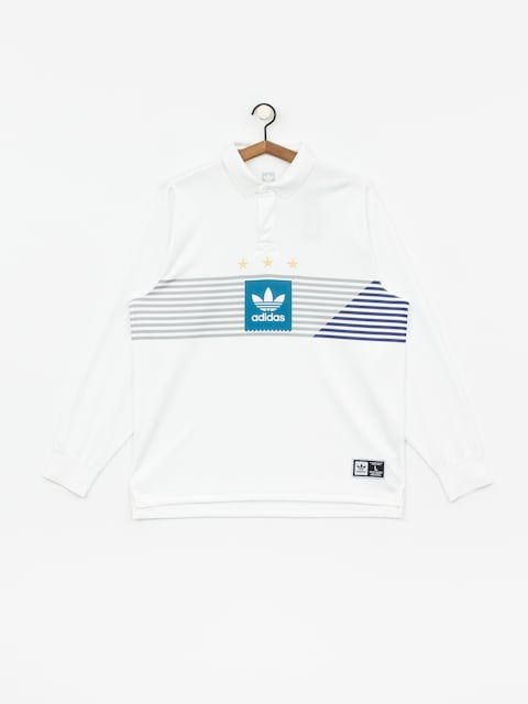 Polo tričko adidas Elvtd Ls Rugby (white/grey two f17/active teal/collegiate purple)