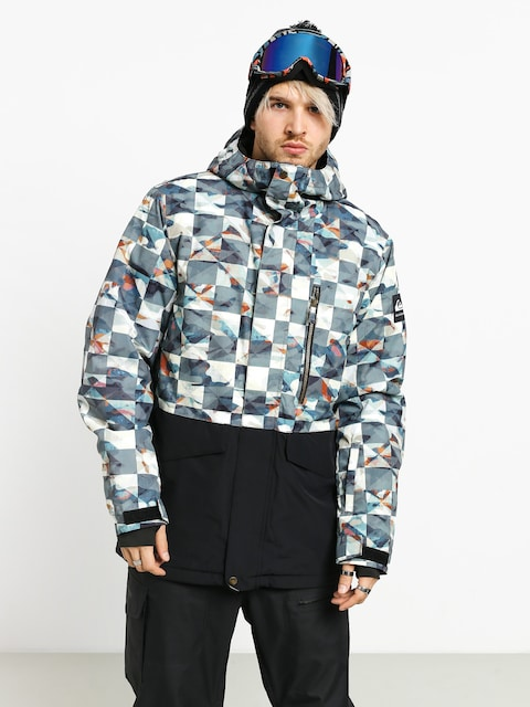 Snowboardová bunda Quiksilver Mission Printed Block (barn red ongrid)