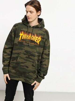 Mikina s kapucu0148ou Thrasher Flame HD (forest camo)