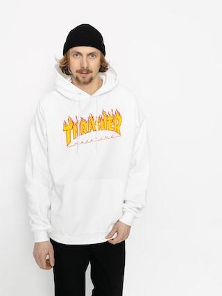 Mikina s kapucňou Thrasher Flame HD (white)