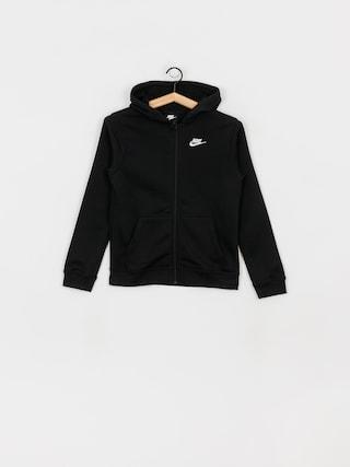 Mikina s kapucu0148ou Nike Club JR ZHD (black/black/white)