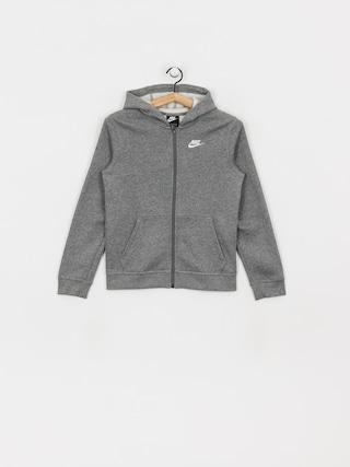 Mikina s kapucu0148ou Nike Club JR ZHD (carbon heather/smoke grey/white)