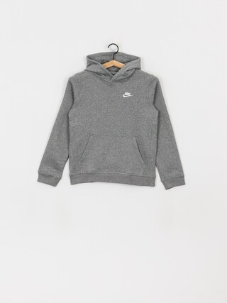 Mikina s kapucu0148ou Nike Club JR HD (carbon heather/white)