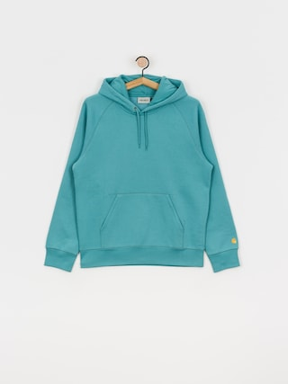 Mikina s kapucňou Carhartt WIP Chase HD (frosted turquoise/gold)