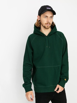 Mikina s kapucňou Carhartt WIP Chase HD (bottle green/gold)