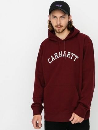 Mikina s kapucňou Carhartt WIP University HD (bordeaux/white)