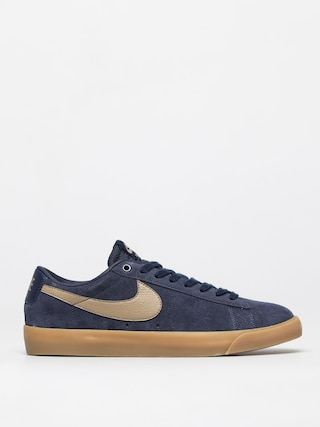 Topu00e1nky Nike SB Blazer Low Gt (midnight navy/khaki gum light brown)