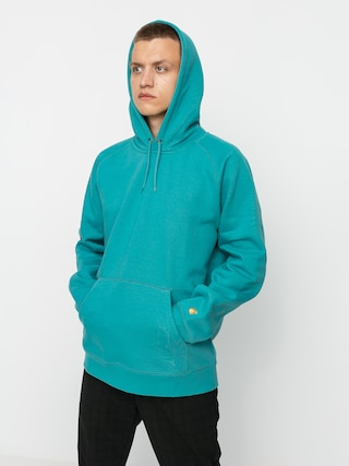 Mikina s kapucu0148ou Carhartt WIP Chase HD (frosted turquoise/gold)