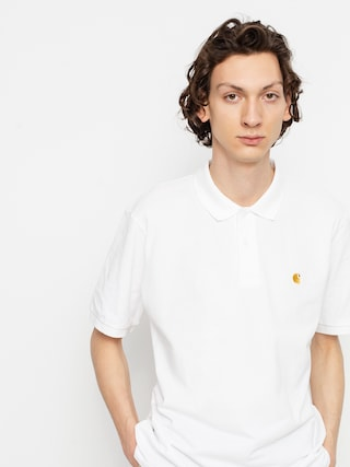 Polo triu010dko Carhartt WIP Chase Pique (white/gold)