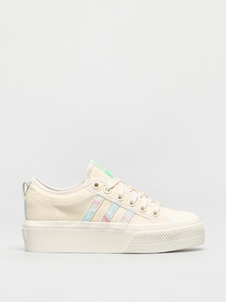 Topu00e1nky adidas Originals Nizza Platform Wmn (cwhite/cwhite/frogrn)