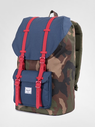 Batoh Herschel Supply Co. Little America (woodland camo/navy/red rubber)