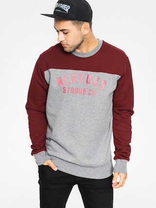Mikina Nervous Football (grey/maroon)