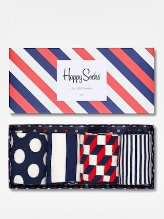 Ponou017eky Happy Socks Giftbox 4pk (navy/white/red)