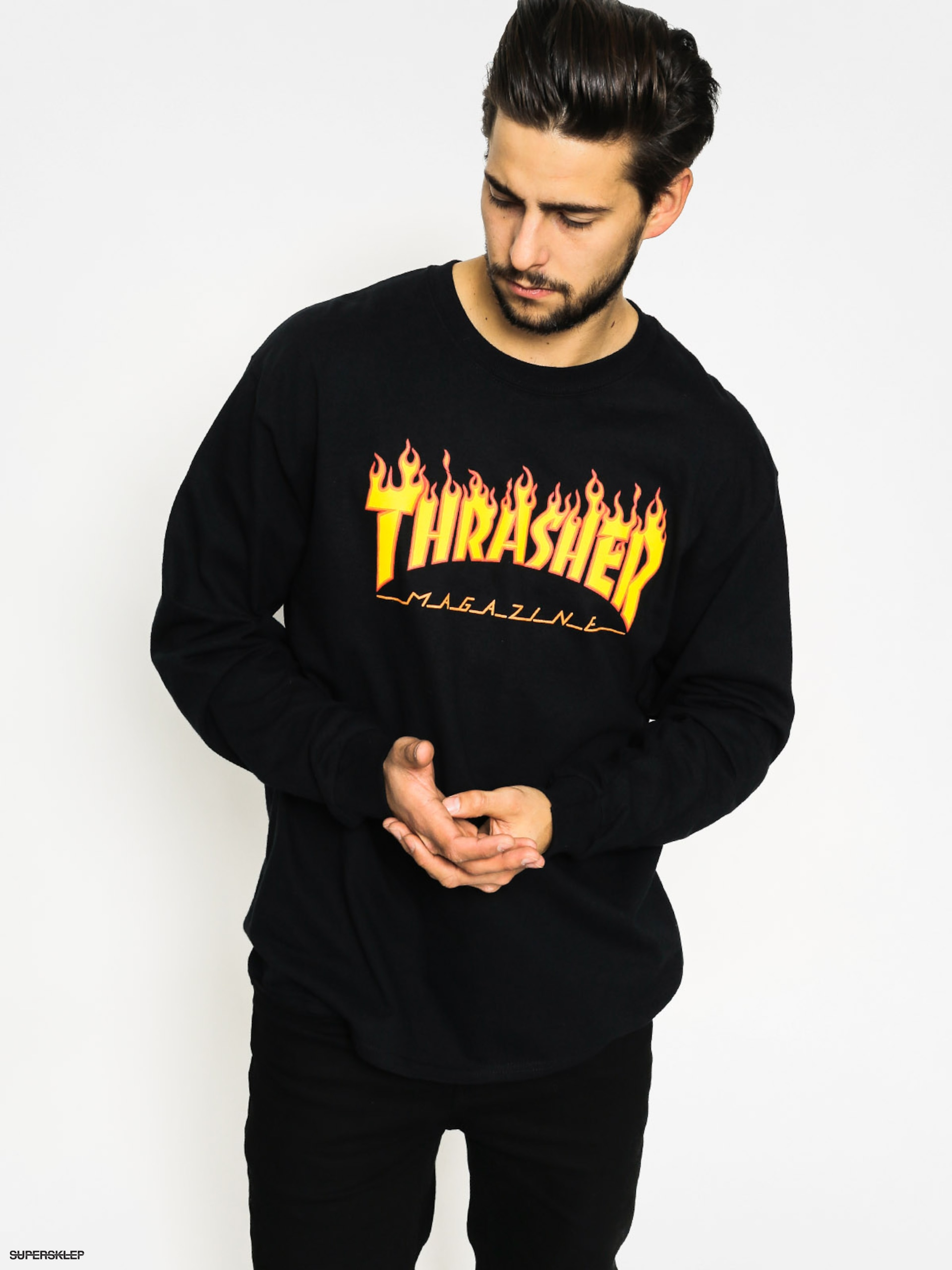 Triko Thrasher Flame Logo (black)