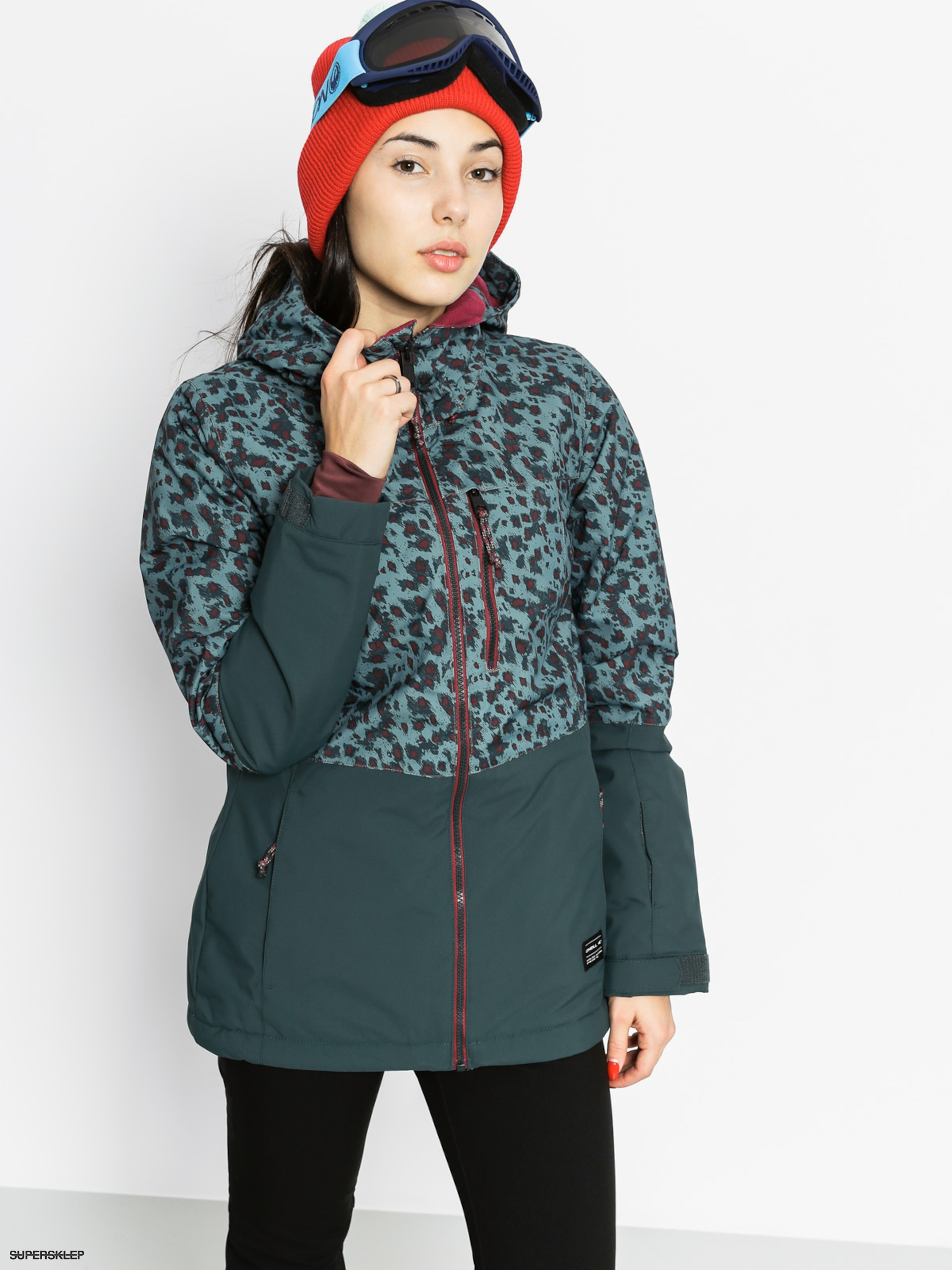 Snowboardová bunda O'Neill Single Wmn (green aop w/red)