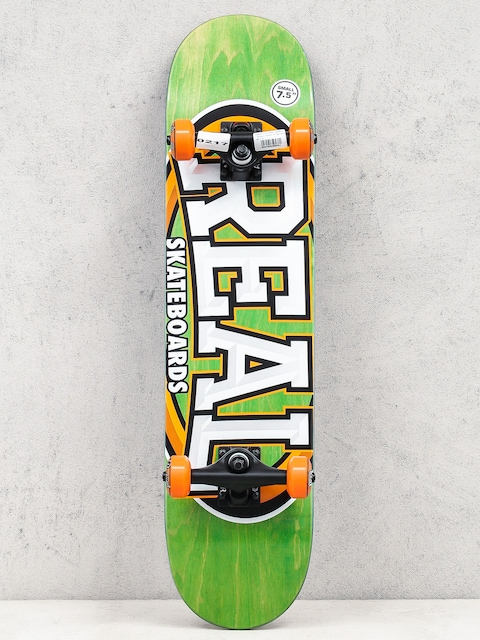 Skateboard Real Alumni Small (green/orange)