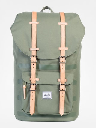 Batoh Herschel Supply Co. Little America (deep lichen green stripe/veggie tan 25l)
