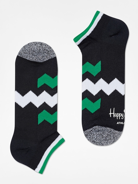 Happy Socks Ponožky Athletic Zig Stripe Low (black/green/white)