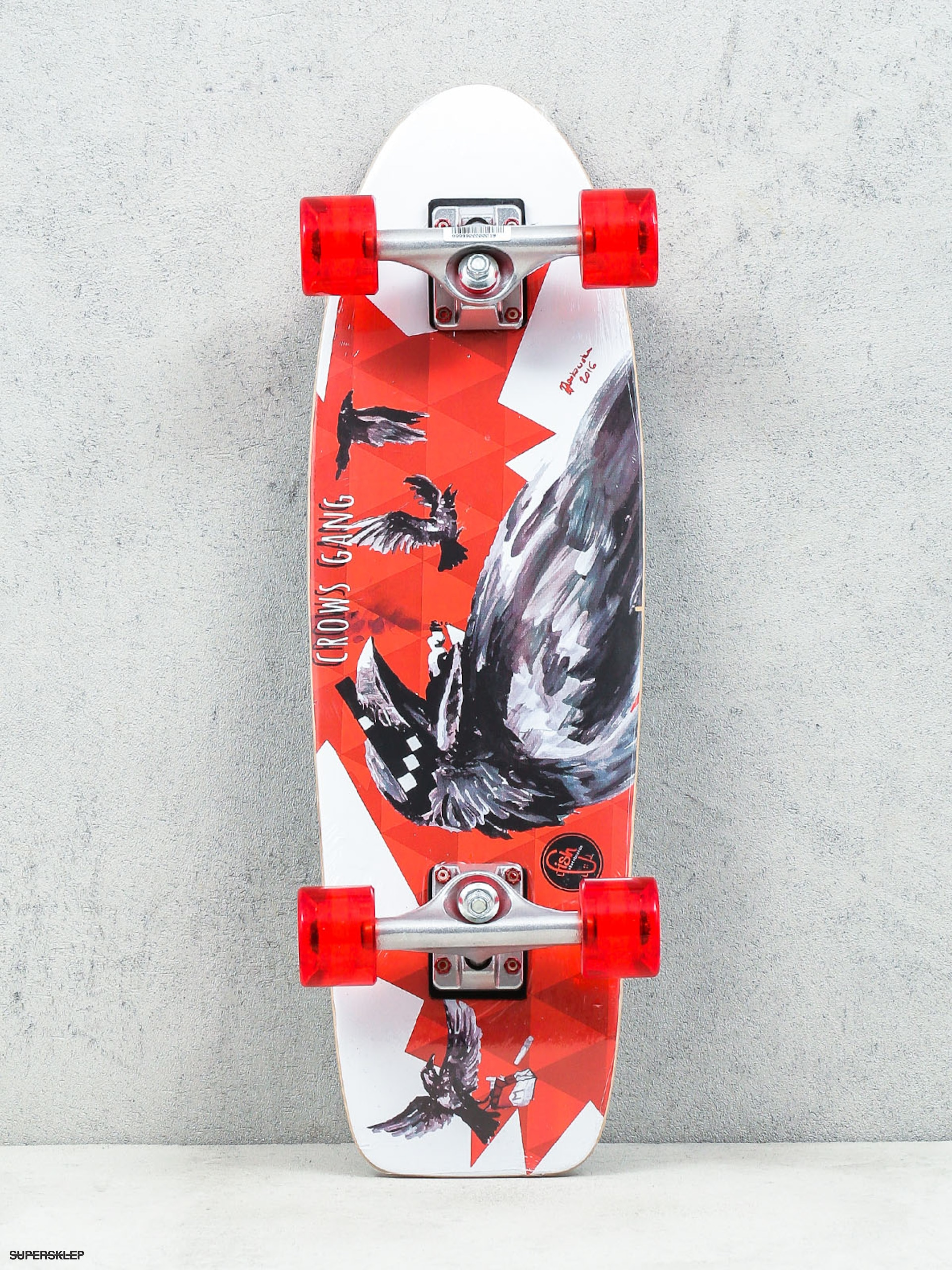 Fish Skateboards Cruiser Crow (silver/transparent red)