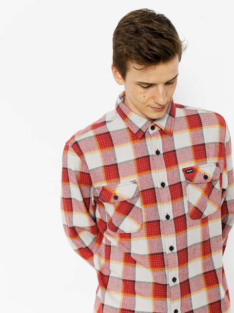 Košeľa Brixton Bowery Flannel Ls (red/grey)