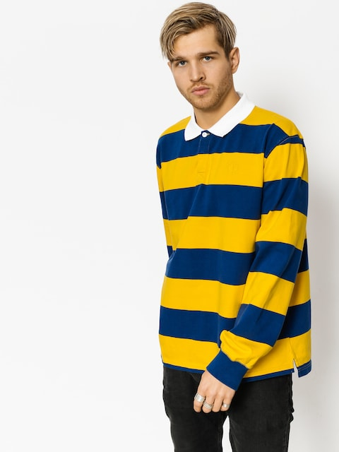 Polo tričko Polar Skate Block Stripe Ls (navy/yellow)