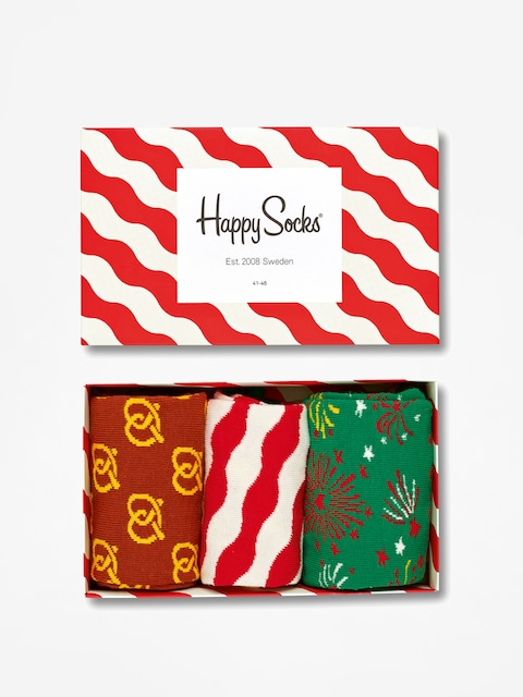 Ponožky Happy Socks Giftbox 3pk (white/red)