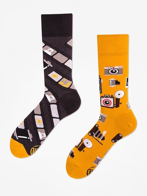 Ponožky Many Mornings Retro Camera (mustard/grey)