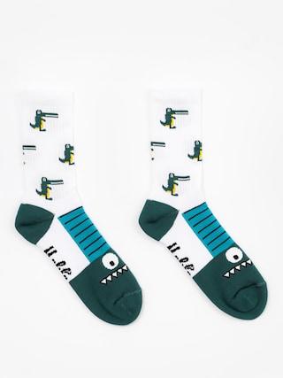 Ponožky Malita Crocodiles (white/green)