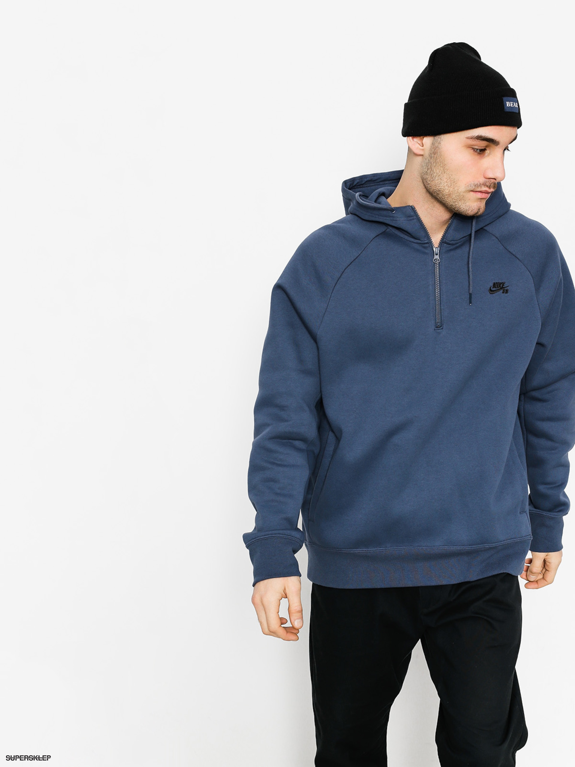 Mikina s kapucňou Nike SB Hoodie Icon Hz HD (thunder blue/black)