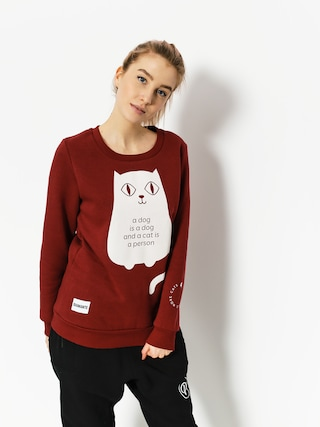 Mikina Diamante Wear Less People More Cats Wmn (burgundy)