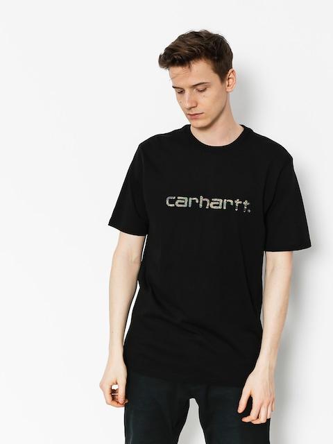 Carhartt Tričko Script (black/camo tiger laurel)