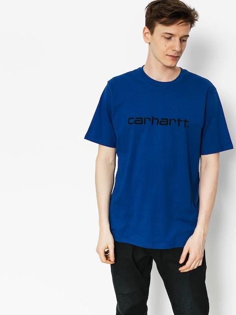 Carhartt Tričko Script (sapphire/black)