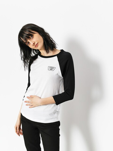 Tričko Vans  Full Patch Raglan Wmn (white black)