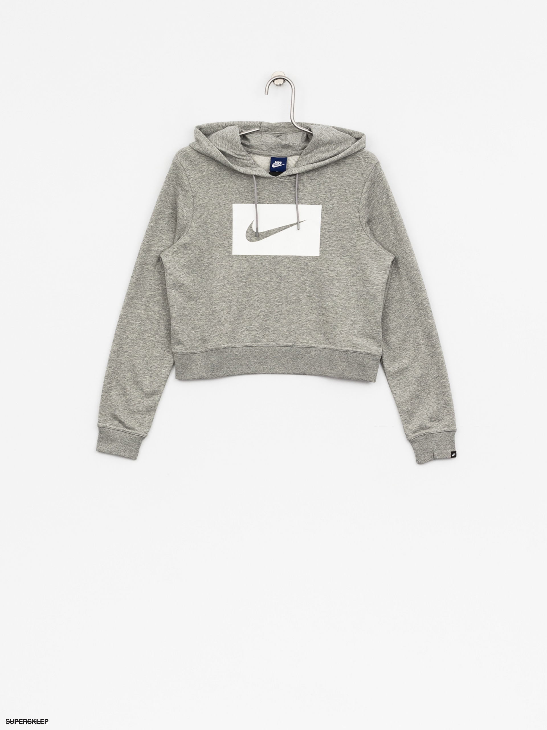 Mikina s kapucňou Nike Hoodie Swsh HD Wmn (dk grey heather/white)