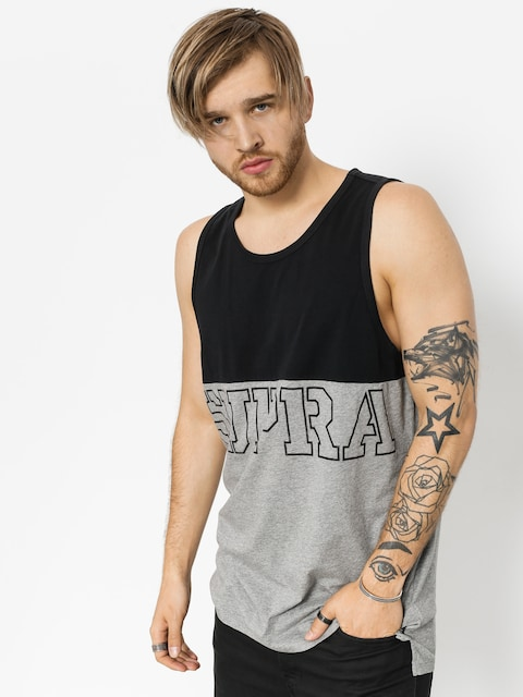 Tričko Block Tank (black/heather grey)