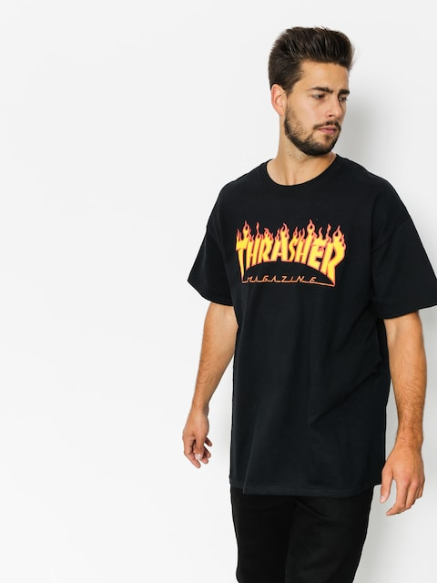Tričko Thrasher Flame Logo (black)