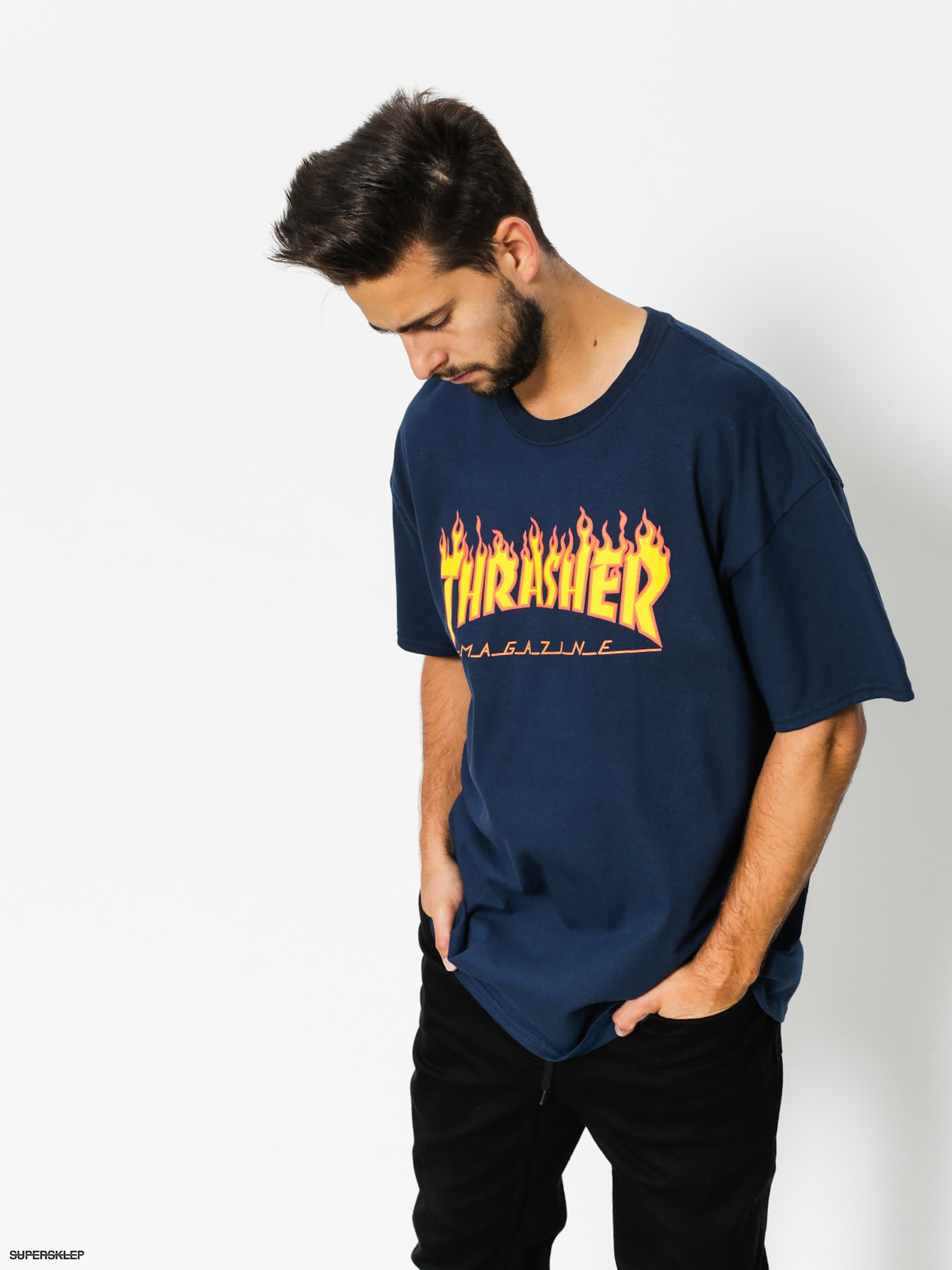 Tričko Thrasher Flame Logo (navy/blue)