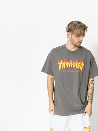 Tričko Thrasher Flame Logo (charcoal grey)