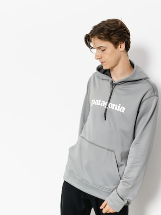 Mikina s kapucňou Patagonia Text Logo PolyCycle HD (feather grey w/white)