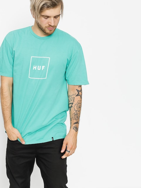 Tričko HUF Essentials Box Logo (bright aqua)