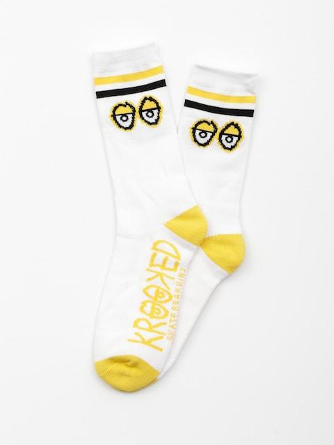 Ponožky Krooked Big Eyes (white/yellow/black)